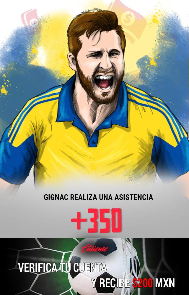 Si crees que Gignac realiza una asistencia en el partido de vuelta contra Tijuana, apuesta en Caliente y llévate mucho dinero.