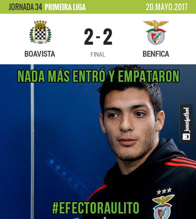 Benfica empató a dos con el Boavista en su último partido de la temporada