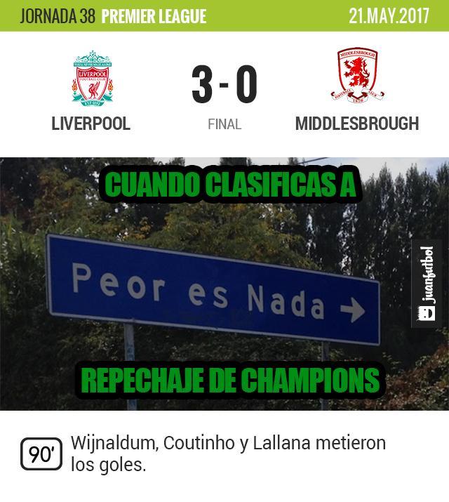 Liverpool le quitó al Arsenal el cuarto lugar