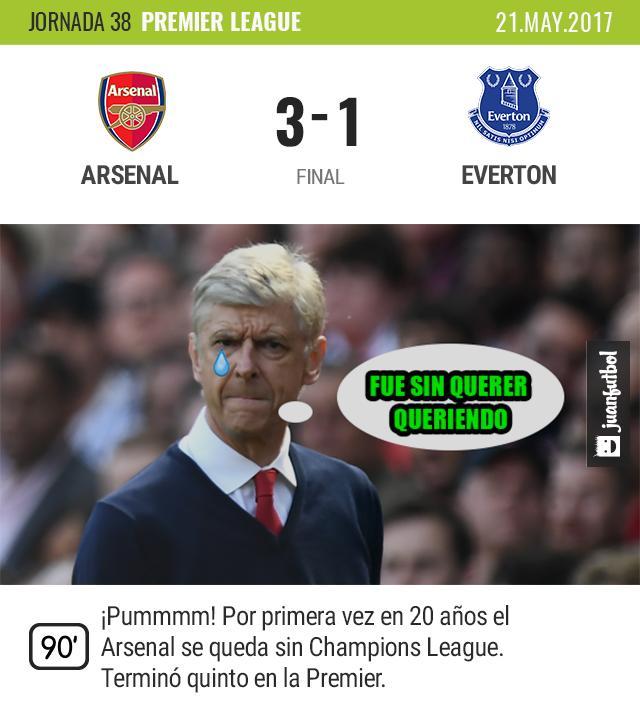Arsenal fuera de Champions.