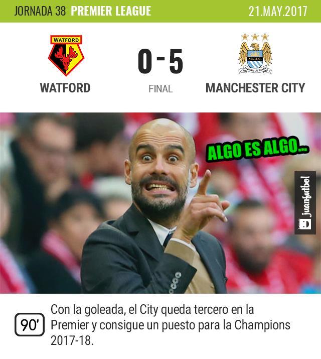 City golea al Watford y queda en puestos de Champions.