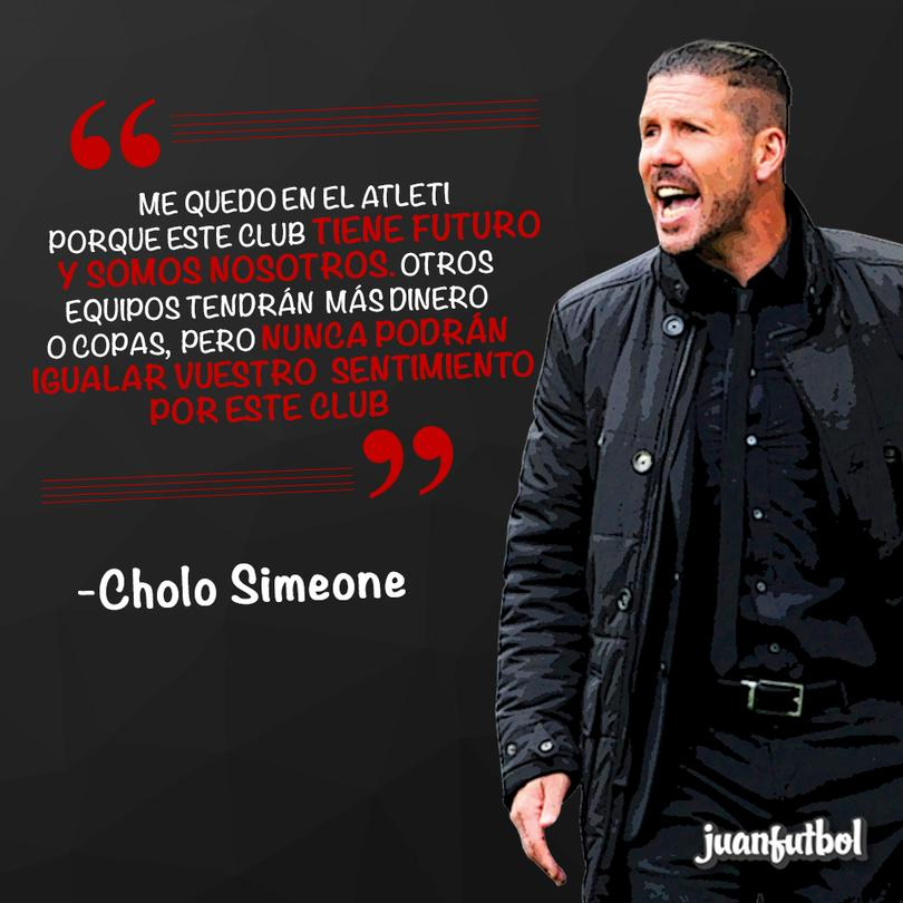 Cholo Simeone continuará en el Atlético de Madrid.