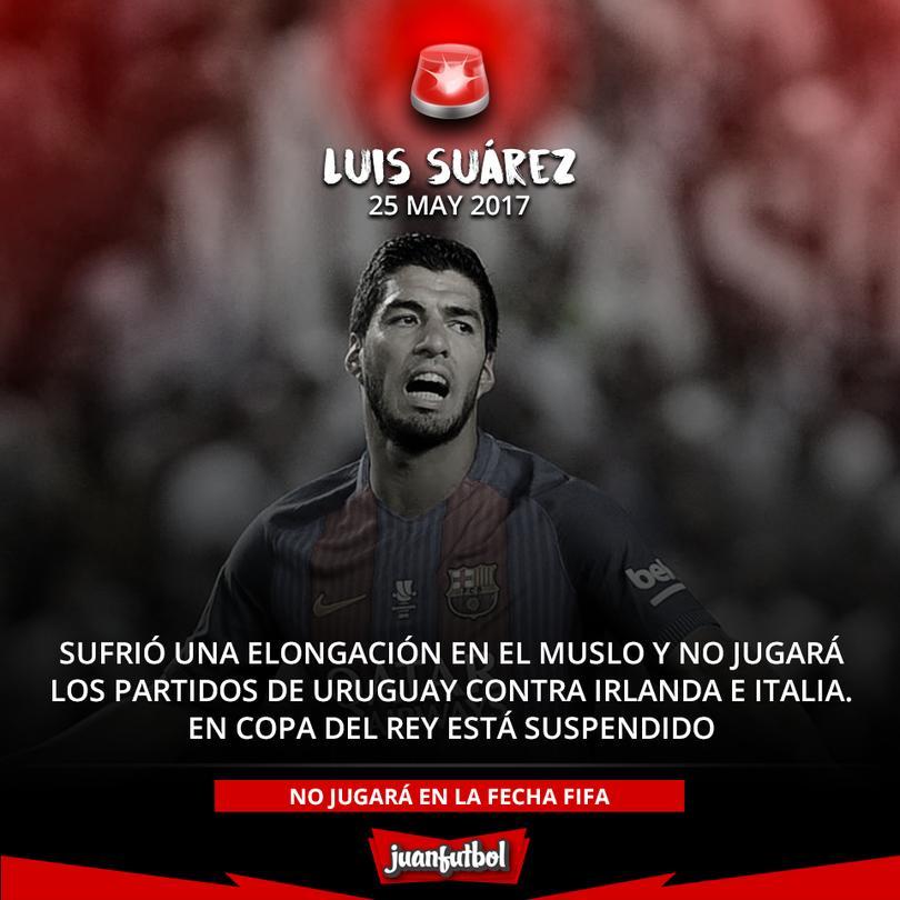 Luis Suárez se lesionó y no juega con Uruguay, en Copa del Rey noo iba por estar suspendido