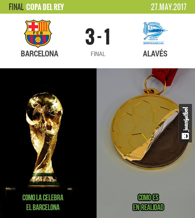Barcelona venció 3-1 al Alavés en la final de la Copa del Rey