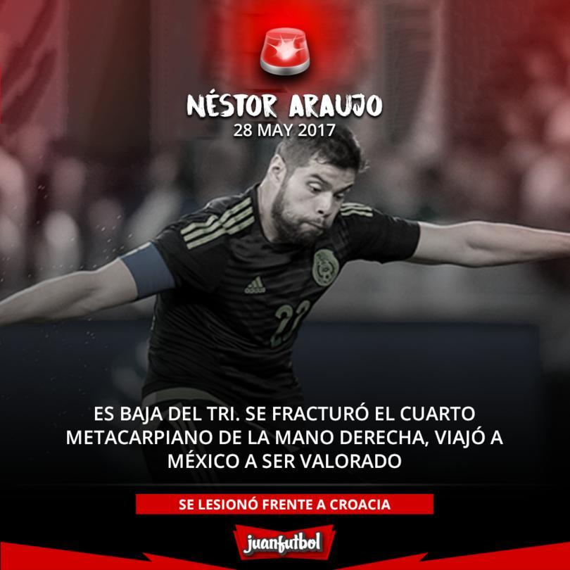 Araujo es baja de la Selección, por fractura en la mano.