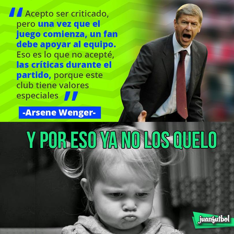 Arsene Wenger dijo que acepta las críticas, pero no durante los partidos