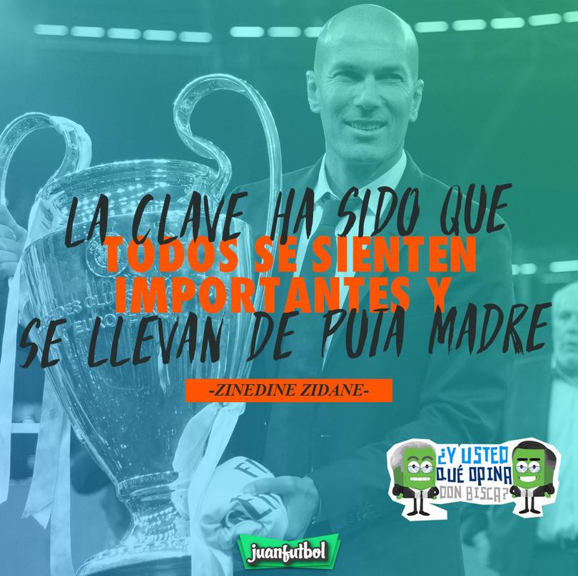 Zidane dice que sus jugadores se llevan de 'puta madre'
