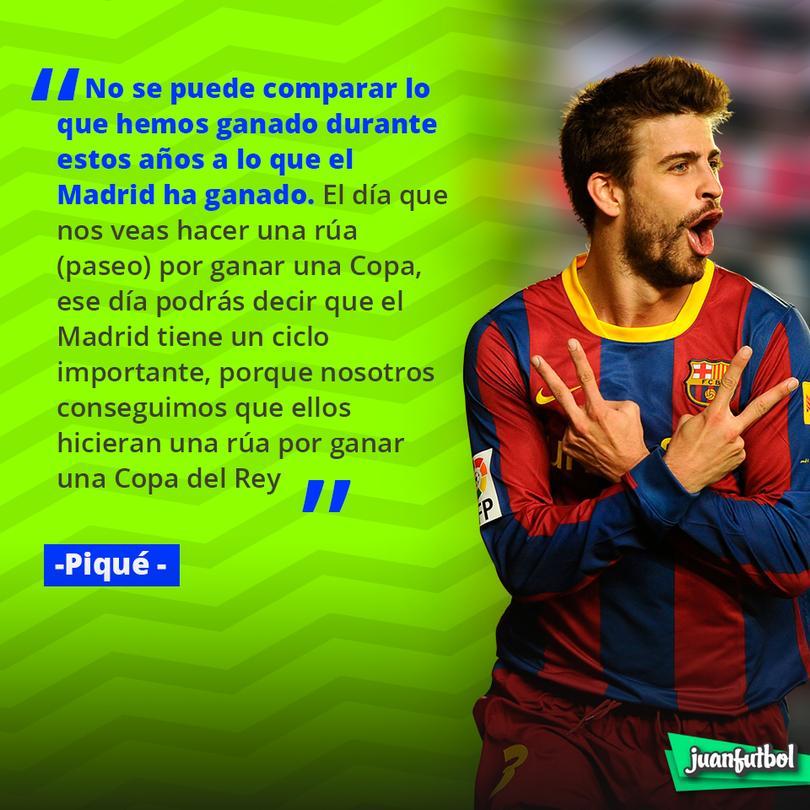 Piqué afirma que no se puede comparar lo que el Barcelona ha ganado con lo que el Madrid ha conseguido.