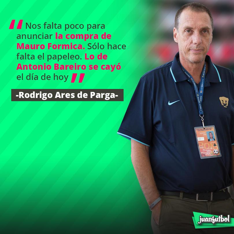 Rodrigo Ares de Parga confirmó que Formica ya casi está cerrado con Pumas