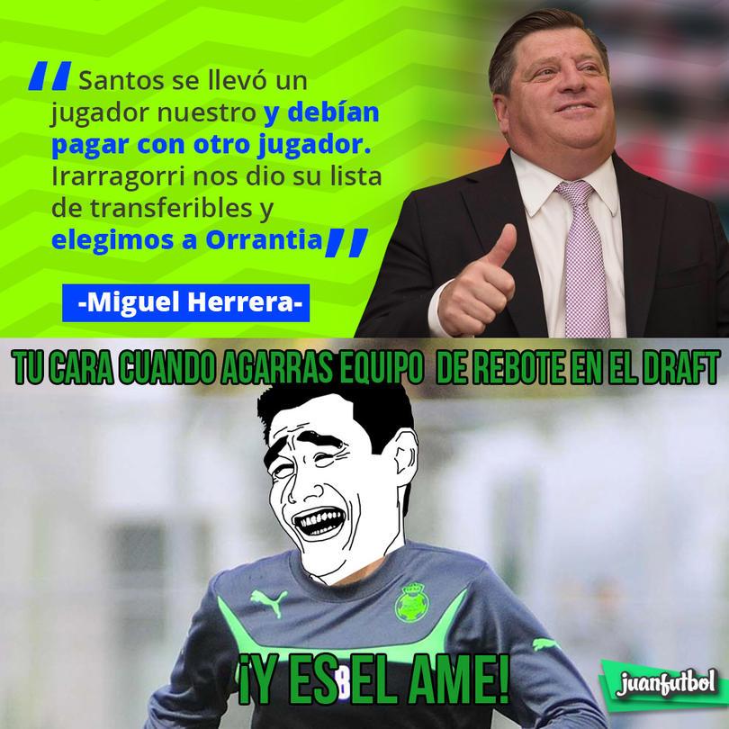 Miguel Herrera dijo que la llegada de Orrantia al América fue porque Santos debía pagar a Brian Lozano