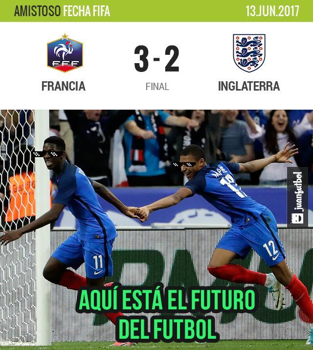 Francia vence 3-2 a Inglaterra