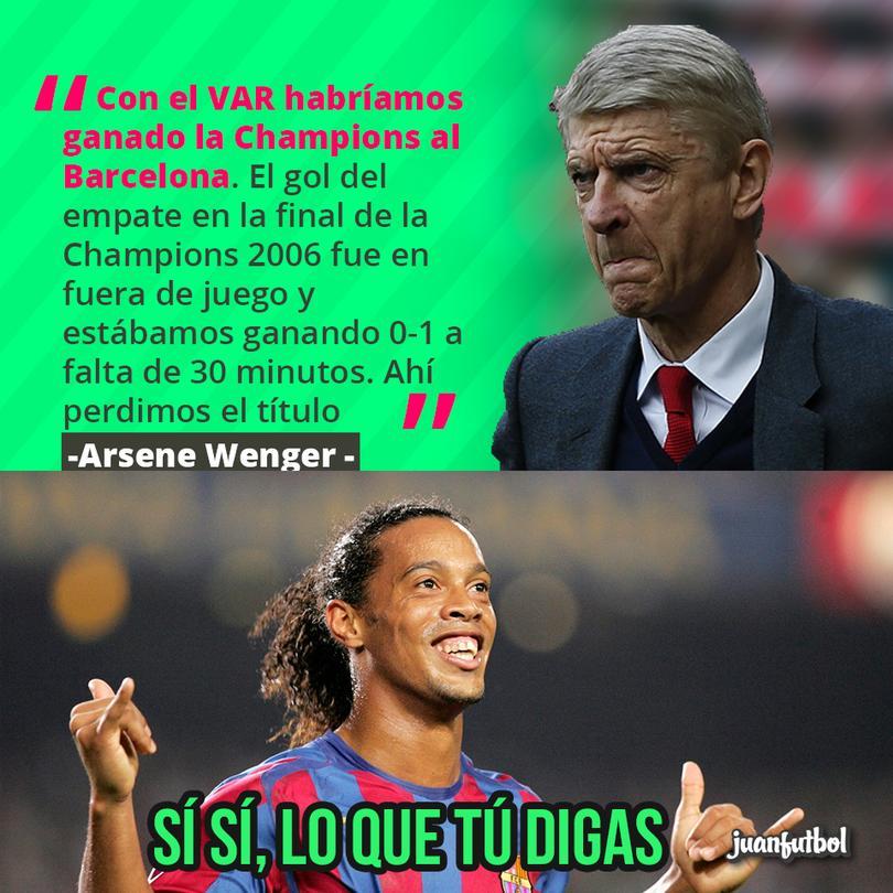 Wenger dice que con el VAR le hubieran ganado al Barcelona