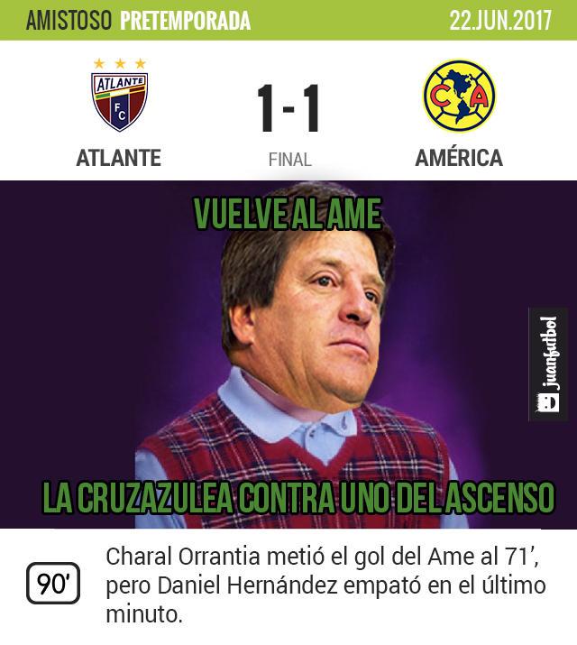 El América empató 1-1 con Atlante en Cancún