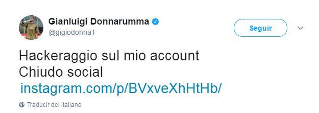 Donnarumma dice que lo hackearon