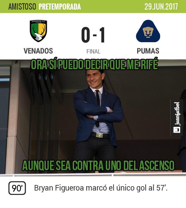 Pumas visitó al Mérida y le ganó 1-0