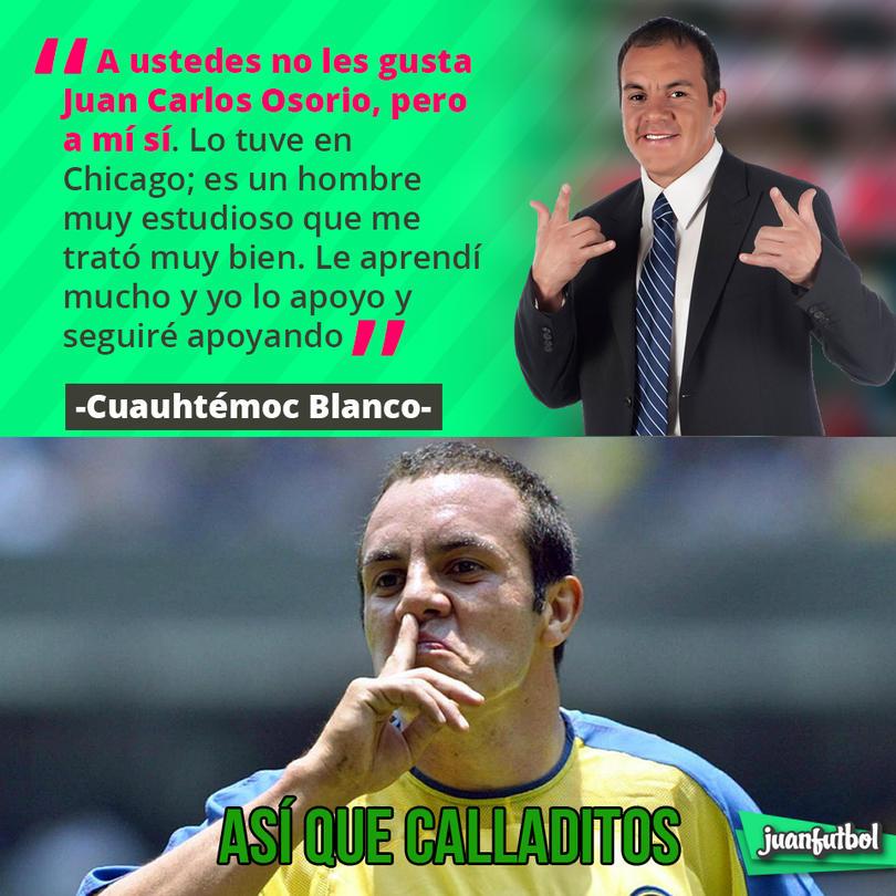 Cuauhtémoc Blanco dice que apoya al 100 por ciento a Juan Carlos Osorio
