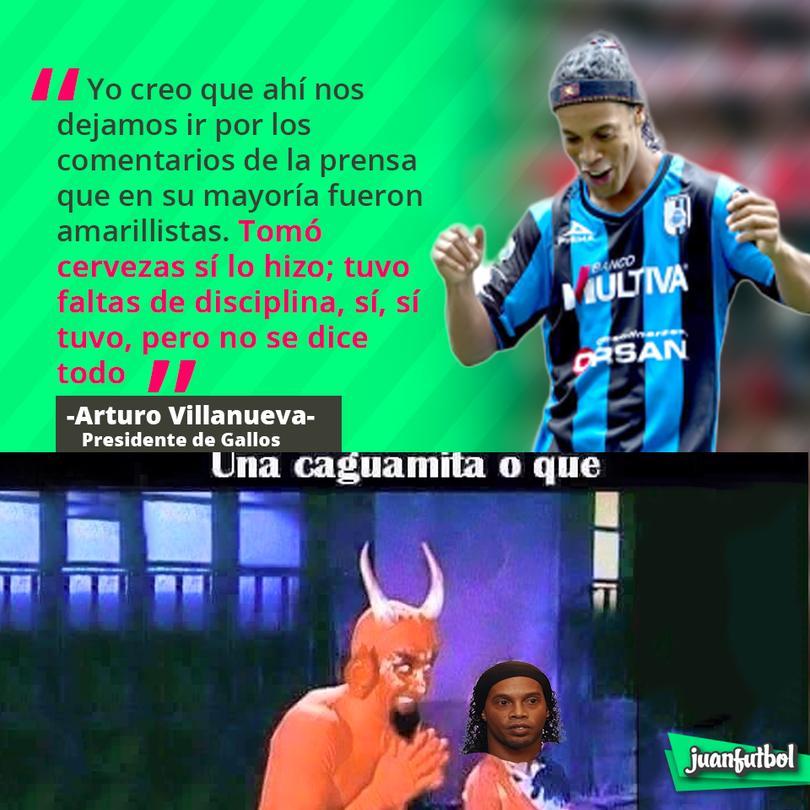 Presidente de Gallos acepta que Dinho era irresponsable durante su estancia en el club.