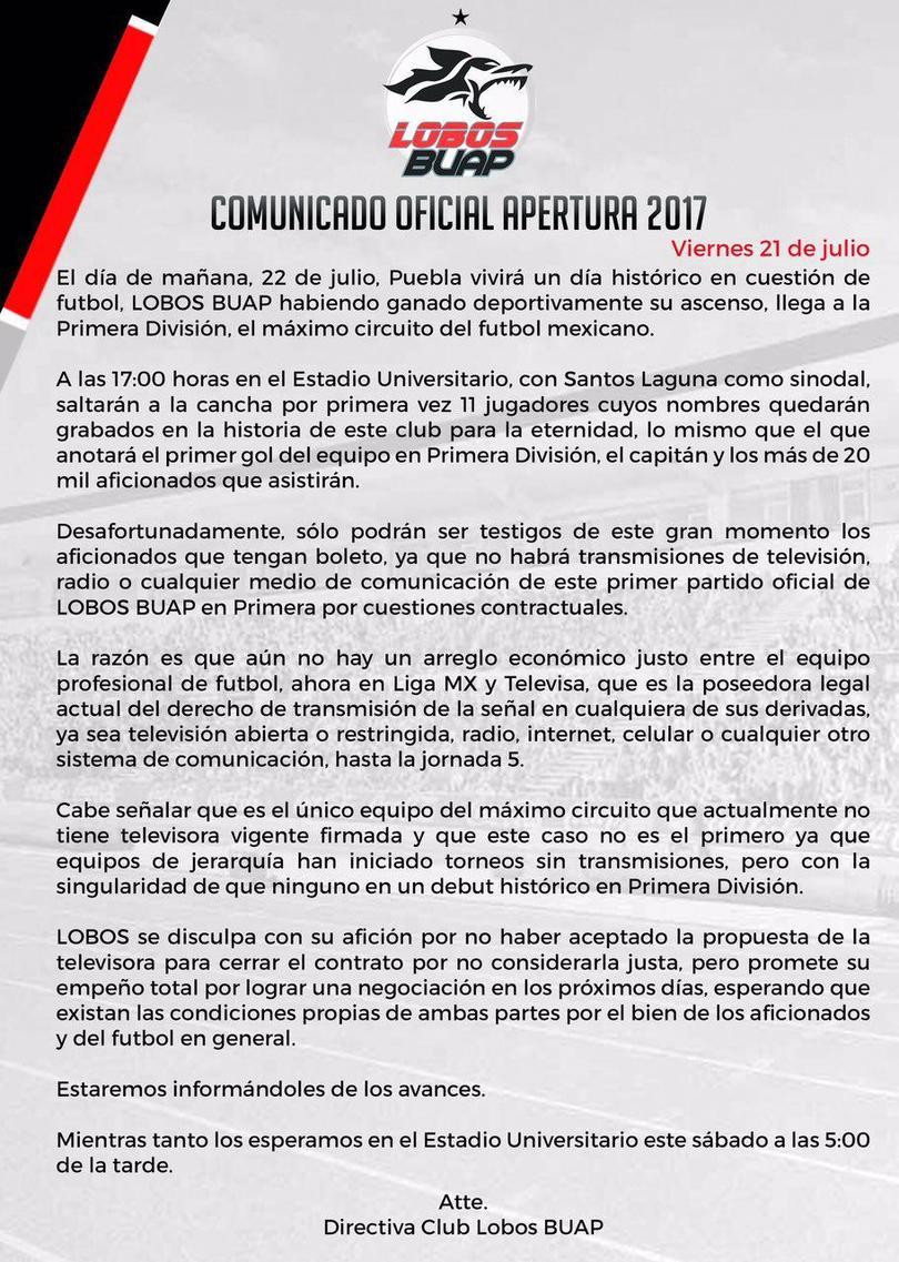 Por no llegar a un acuerdo económico con Televisa, los primeros juegos de Lobos no serán transmitidos