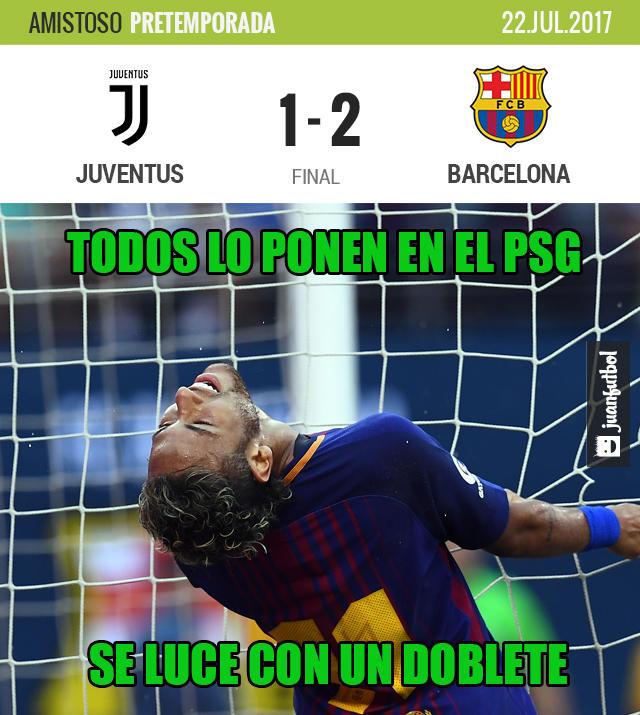Neymar se lució con dos buenos goles en un amistoso del Barcelona contra la Juve