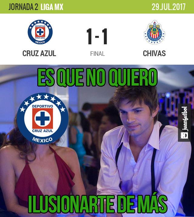 Cruz Azul desaprovechó una roja de Chivas y acabó empatando con Chivas