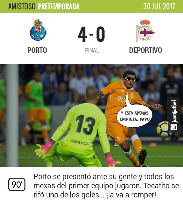 Porto goleó 4-0 al Deportivo La Coruña Tecatito anotó