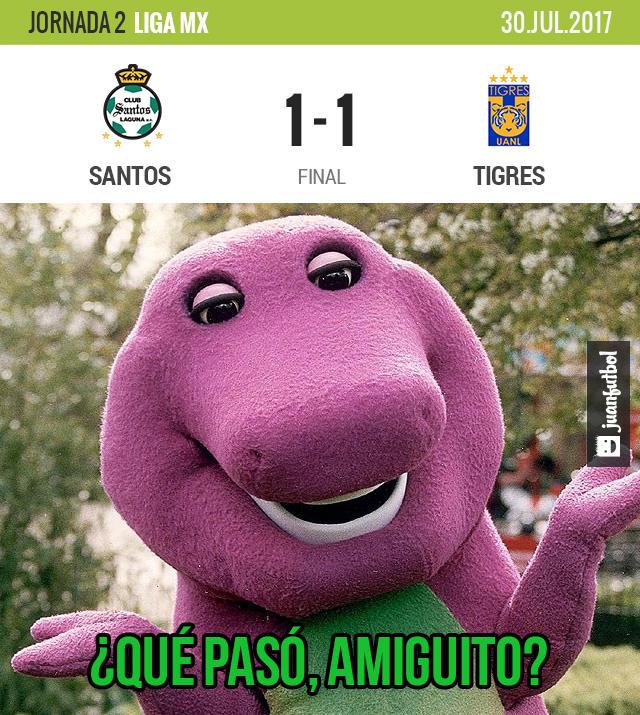Tigres ganaba pero Santos lo empató y casi le da la vuelta