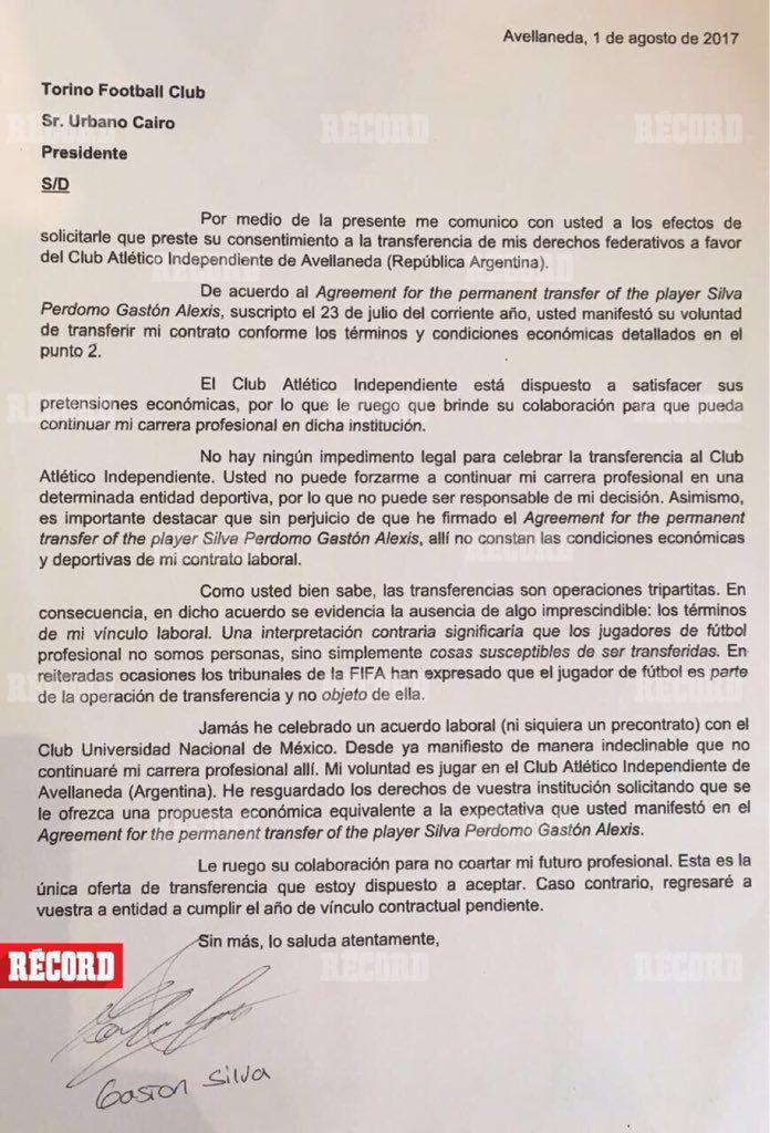 Carta de Silva al Torino
