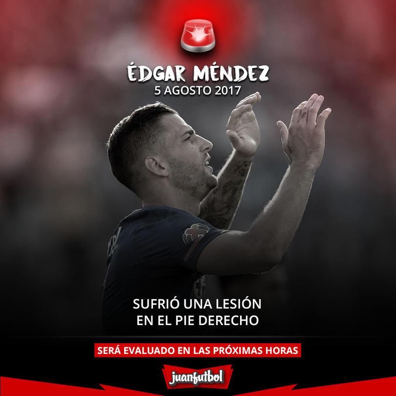 Édgar Méndez salió con una lesión del juego contra León