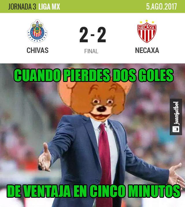 Chivas empató 2-2 con Necaxa