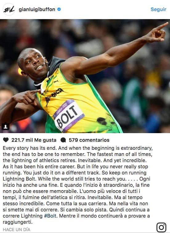 El mensaje de Buffon para Bolt.
