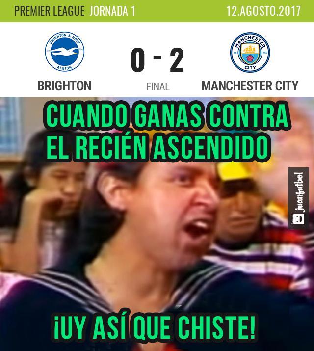 Manchester City ganó con un gol del Kun y autogol de L. Dunk
