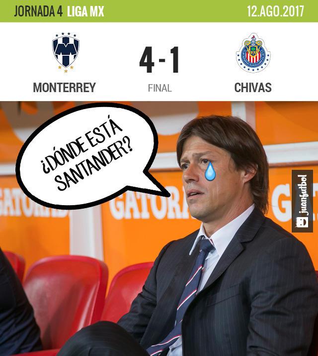 Chivas fue goleado 4-1 por Monterrey y sigue sin ganar en la Liga MX