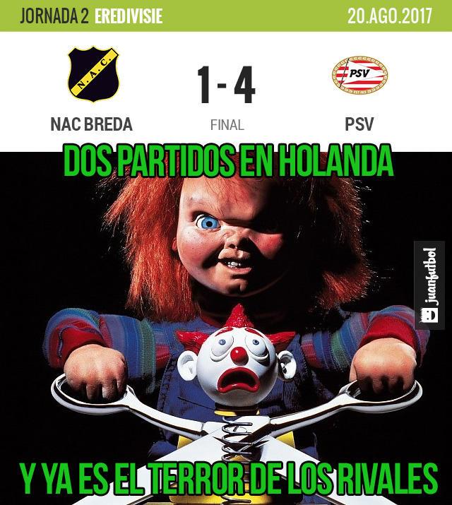 Hirving Lozano anotó al NAC Breda en su segundo partido en al Eredivisie
