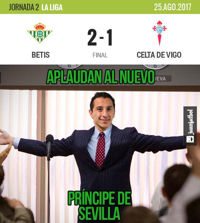 Andrés Guardado dio dos asistencias en la victoria del Betis sobre el Celta