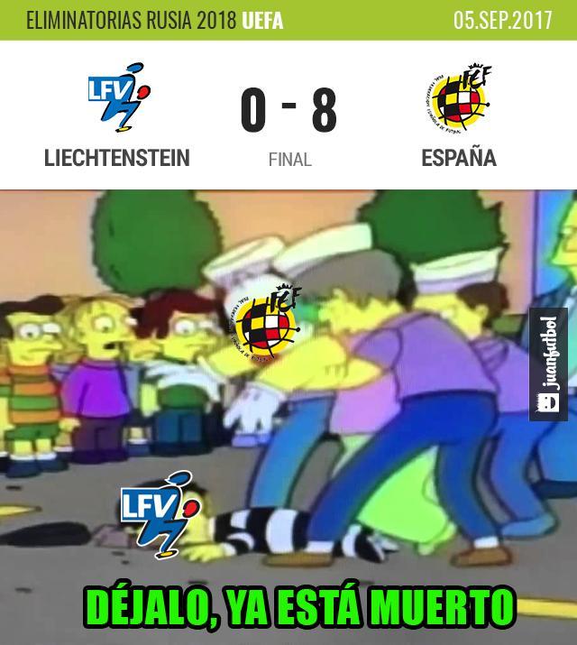 España golea a Liechtenstein.
