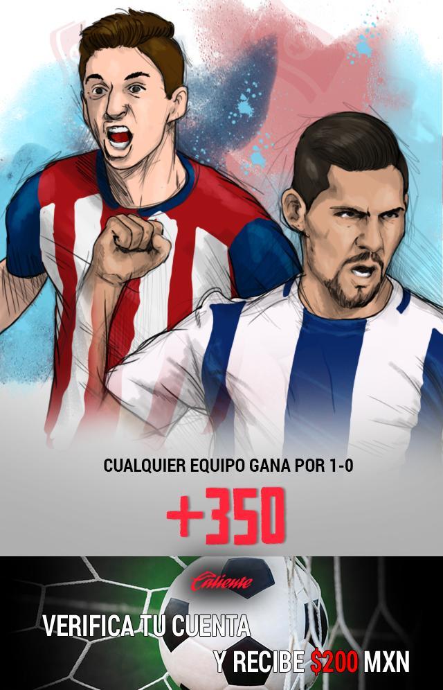 Si crees que en el partido Pachuca vs Chivas cualquier equipo gana por 1-0, apuesta en Caliente y llévate mucho dinero.