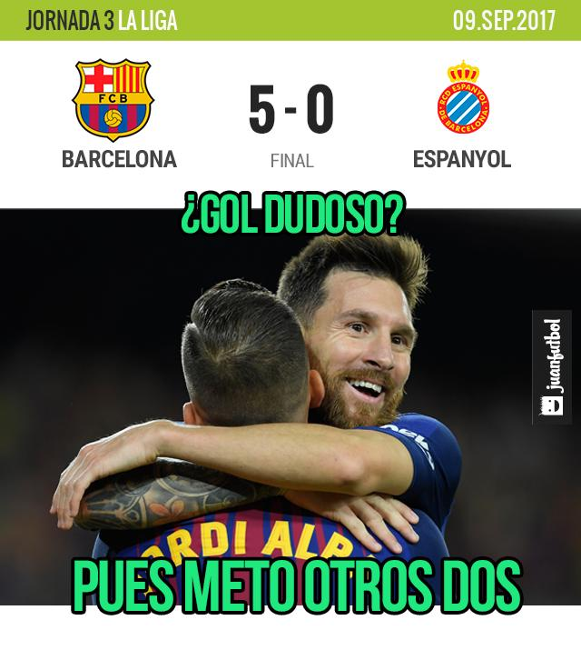 ¡Hat-trick de Messi! Piqué y Suárez, lo normal...