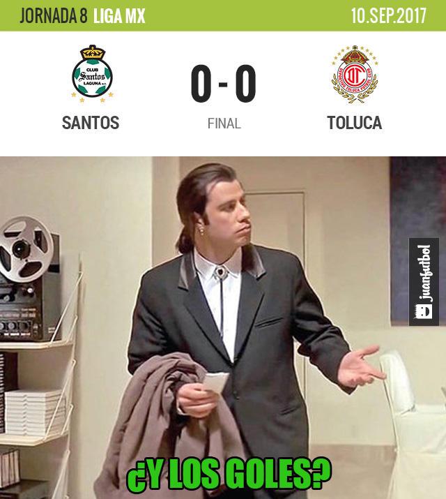 Santos empató sin goles con Toluca en casa