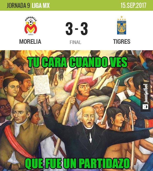 Monarcas empató a tres con Tigres