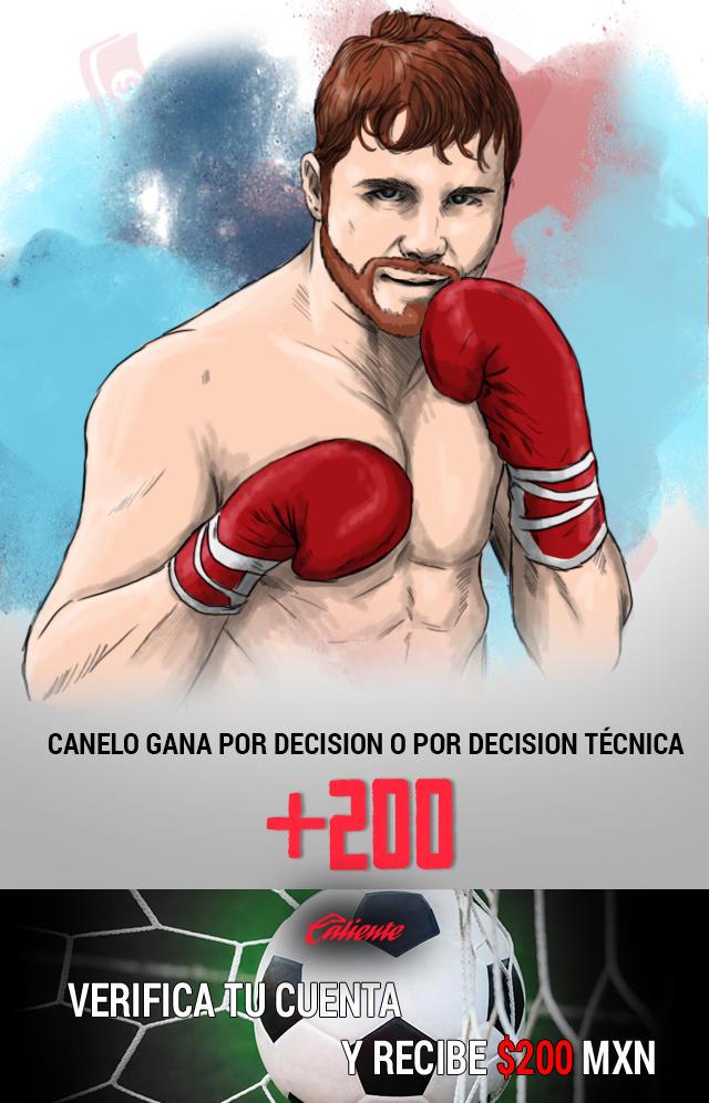 Si crees que Canelo ganará la pelea por decisión o decisión técnica, apuesta en Caliente y llévate mucho dinero.