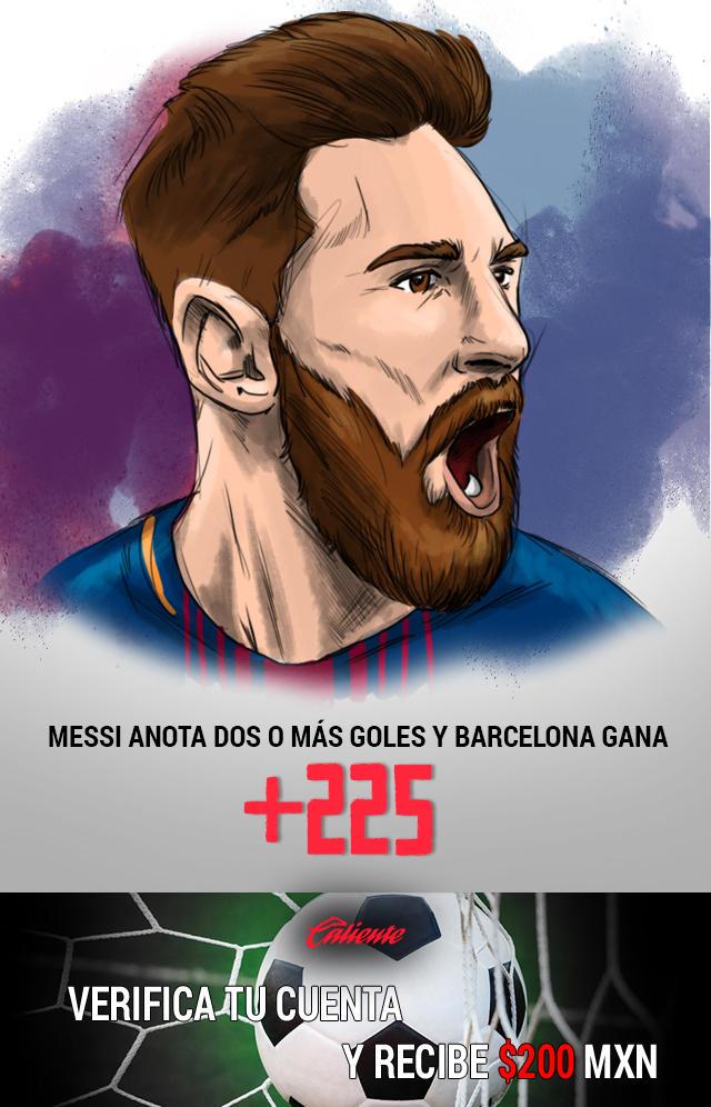 Si crees que Messi anotará dos o más goles y el Barcelona gana el partido, apuesta en Caliente y llévate mucho dinero.
