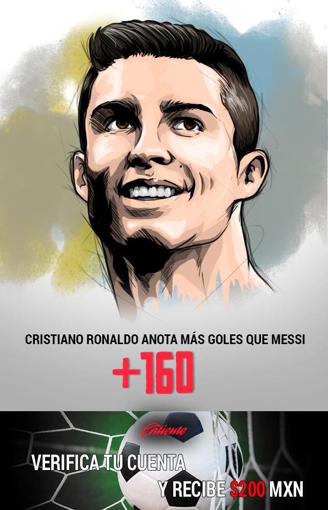 Si crees que Cristiano Ronaldo anotará más goles que Messi en la jornada 7 de la liga española, apuesta en Caliente y llévate mucho dinero.