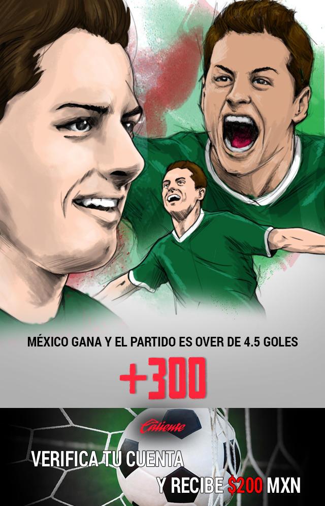 Si crees que México le gana a Trinidad y Tobago y hay más de 4 goles en el partido, apuesta en Caliente y llévate mucho dinero.