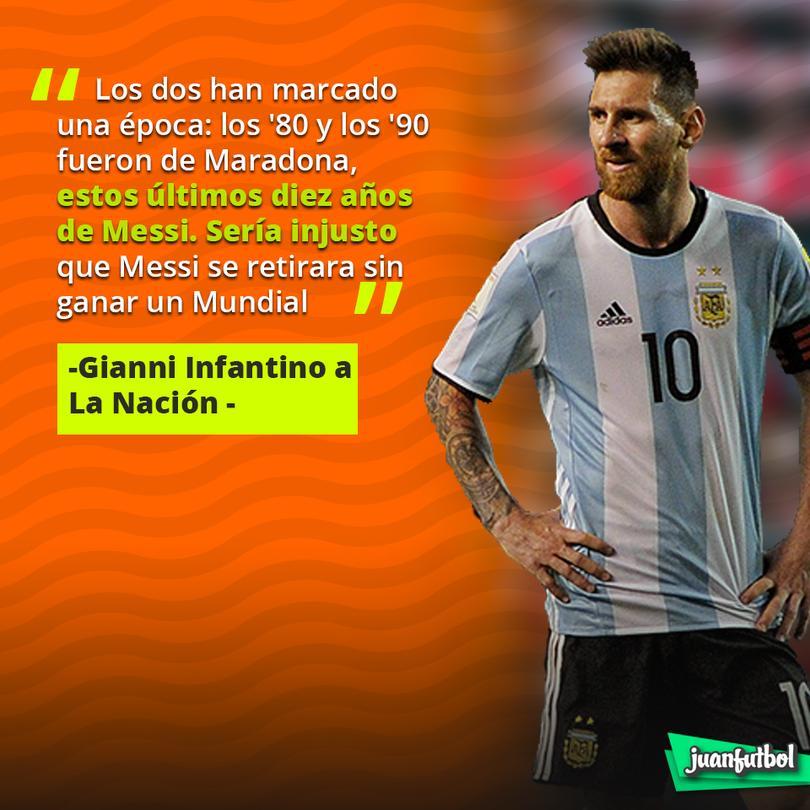 Infantino quiere que Messi gane el Mundial