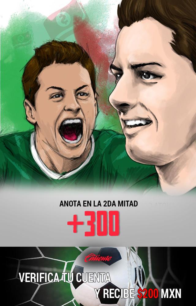 Si crees que Chicharito anota gol en la segunda mitad, apuesta en Caliente y llévate mucho dinero.