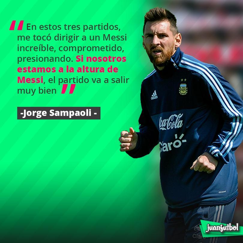 Sampaoli cree que si todos juegan como Messi estarán en el Mundial