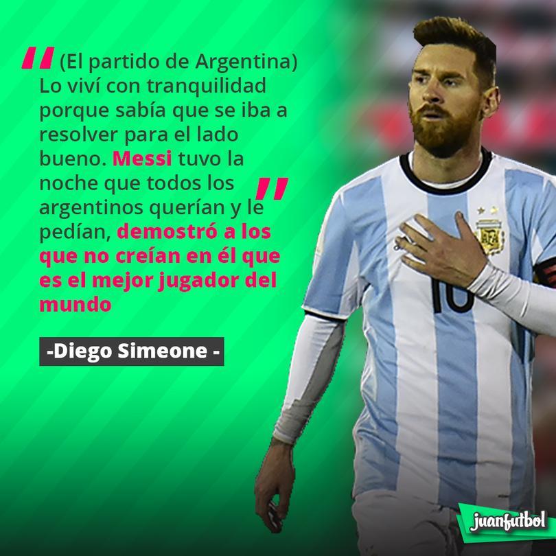 El Cholo elogió a Messi
