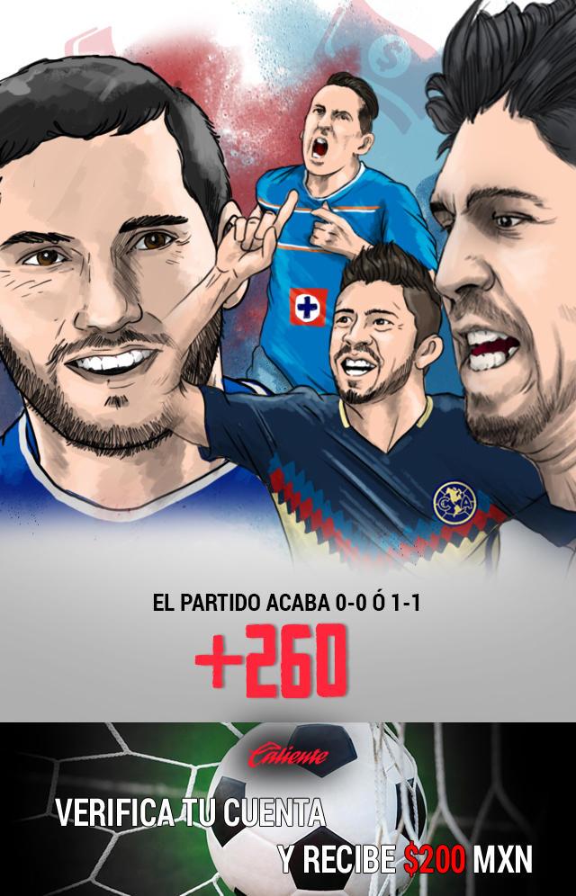 Si crees que el partido Cruz Azul vs América quedará 0-0 ó 1-1, apuesta en Caliente y llévate mucho dinero.