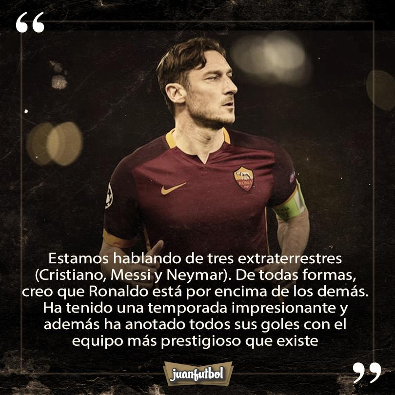 Totti afirma que CR7 es el mejor jugador del mundo.