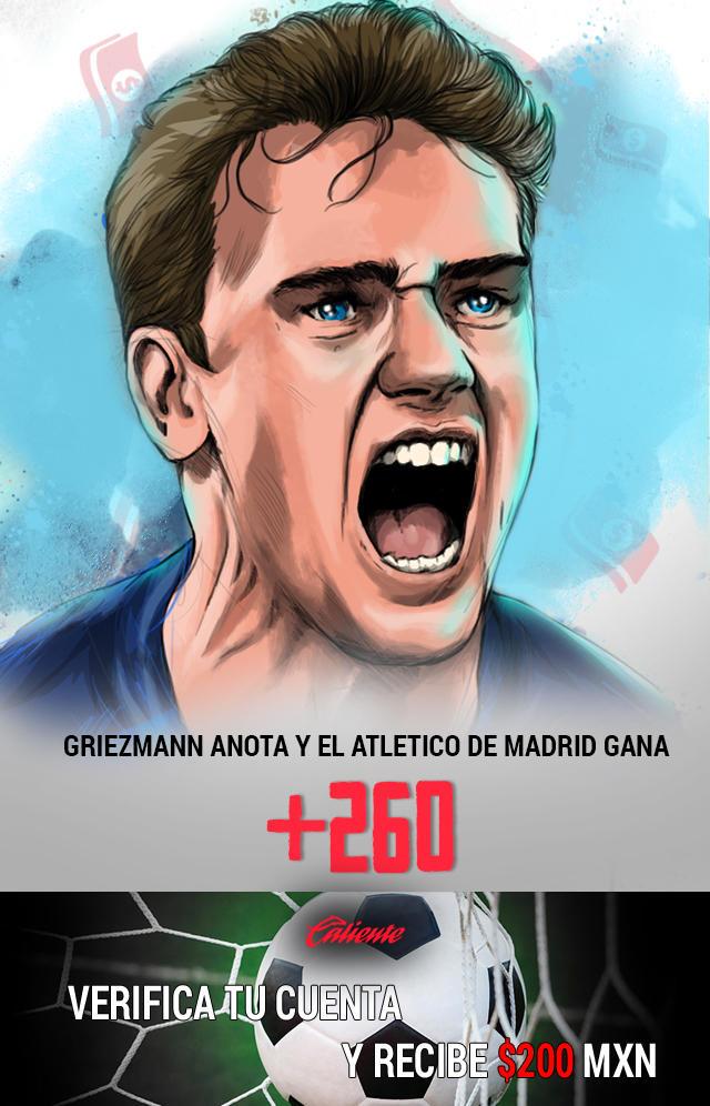Si crees que Griezmann anota y el Atlético de Madrid gana, apuesta en Caliente y llévate mucho dinero.